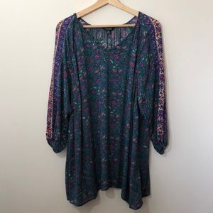 Lucky Brand Quarter Sleeve Floral Paisley Blouse